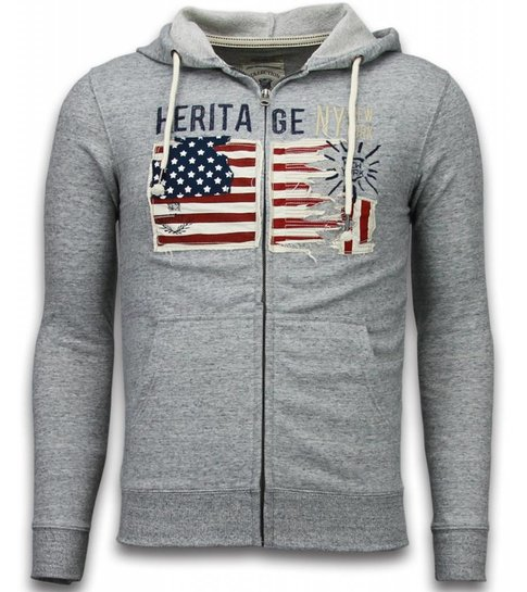 Enos Casual Vest - Embroidery American Heritage - Grijs