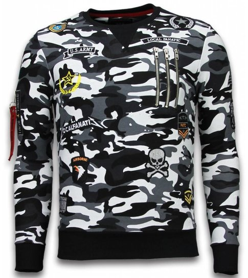 Local Fanatic Exclusief Camo Embroidery - Sweater Patches - Zwart
