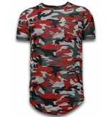 JUSTING Assorted Camouflage T-shirt - Long Fit Camo Shirt Chest Pocket - Bordeaux