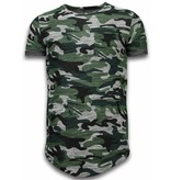 JUSTING Assorted Camouflage T-shirt -Long Fit Camo Shirt Chest Pocket - Groen