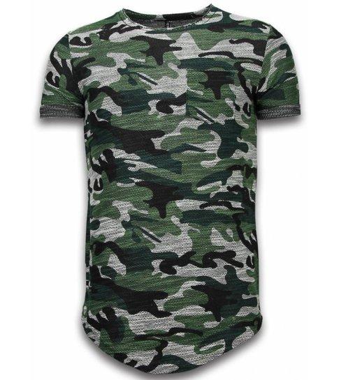 44544d2d46f3e4 ... YesNo Assorted Camouflage T-shirt -Long Fit Camo Shirt Chest Pocket -  Groen ...