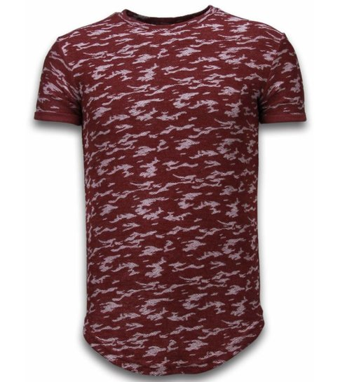 John H Fashionable Camouflage T-shirt - Long Fit Shirt Army Pattern - Bordeaux
