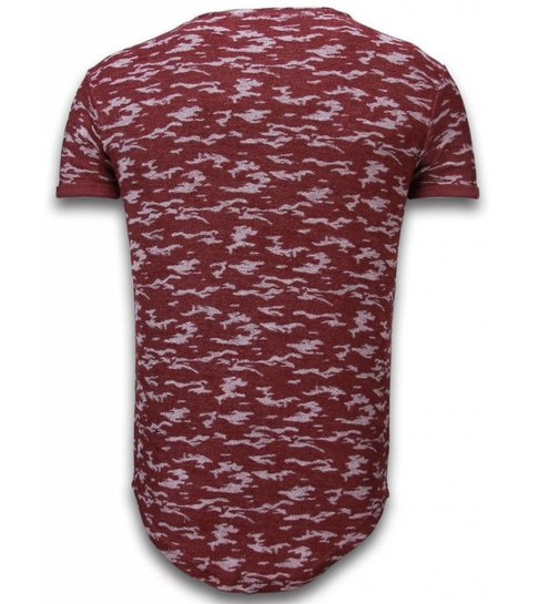 JUSTING Fashionable Camouflage T-shirt - Long Fit Shirt Army Pattern - Bordeaux