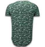 JUSTING Fashionable Camouflage T-shirt - Long Fit Shirt Army Pattern - Groen