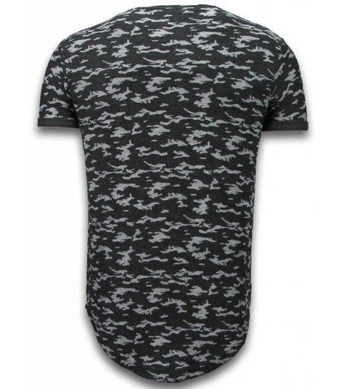 JUSTING Fashionable Camouflage T-shirt - Long Fit Shirt Army Pattern - Zwart