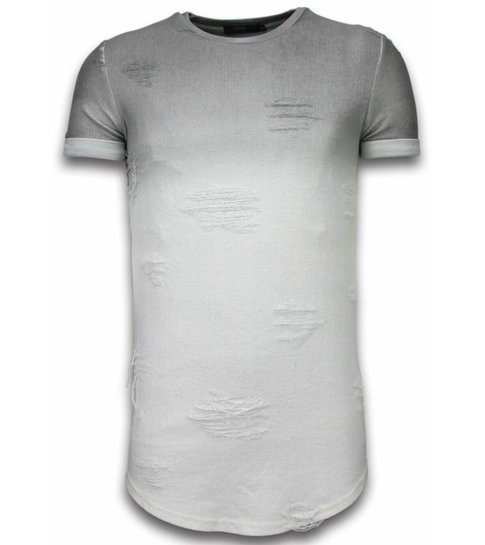 JUSTING Flare Effect T-shirt - Long Fit Shirt Dual Colored - Grijs