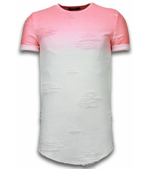 JUSTING Flare Effect T-shirt - Long Fit Shirt Dual Colored - Roze