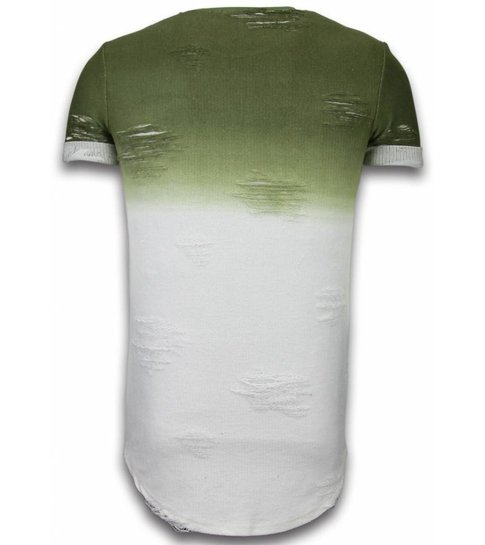 JUSTING Flare Effect T-shirt - Long Fit Shirt Dual Colored - Groen