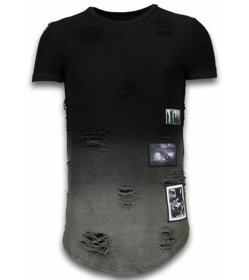 John H Pictured Flare Effect T-shirt - Long Fit Shirt Dual Colored - Zwart