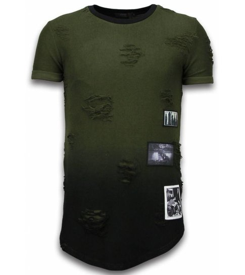 JUSTING Pictured Flare Effect T-shirt - Long Fit Shirt Dual Colored - Groen