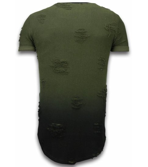 John H Pictured Flare Effect T-shirt - Long Fit Shirt Dual Colored - Groen