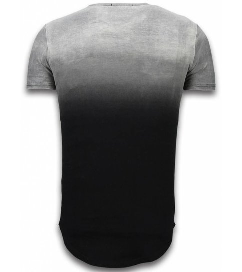 JUSTING Leather Patched T-shirt - Long Fit Shirt Flare Effect Dual Colored - Zwart