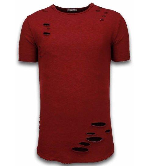 © MAN Damaged Look Shirt - Long Fit T-shirt - Bordeaux