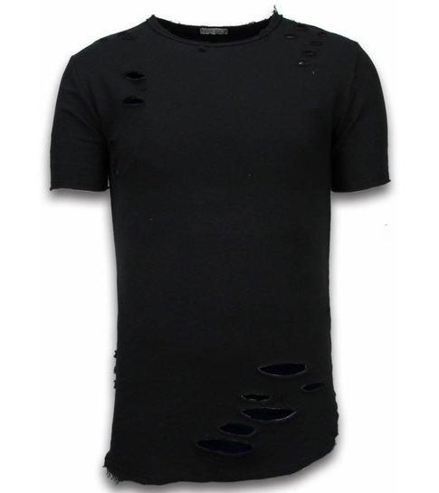 © MAN Damaged Look Shirt - Long Fit T-shirt - Groen - Zwart