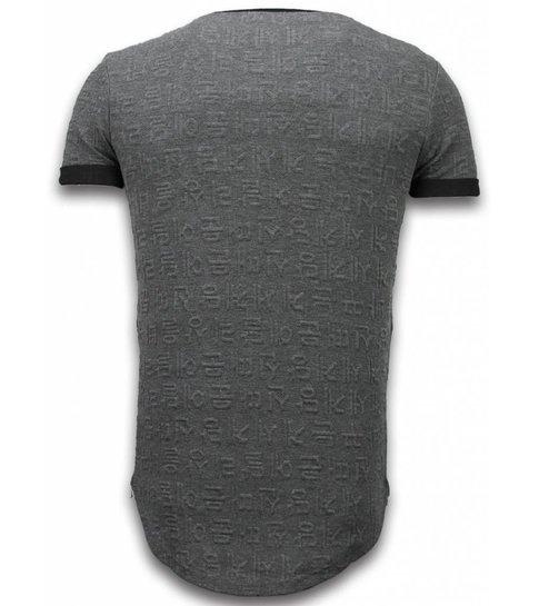 JUSTING 3D Encrypted T-shirt - Long Fit Shirt Zipped - Grijs