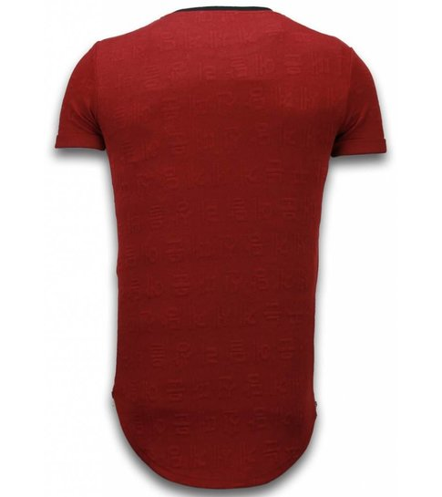John H 3D Encrypted T-shirt - Long Fit Shirt Zipped - Rood