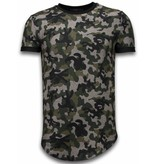 JUSTING Camouflaged Fashionable T-shirt - Long Fit Shirt Army Pattern - Groen