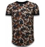 John H Camouflaged Fashionable T-shirt - Long Fit Shirt Army Pattern - Bruin