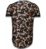 JUSTING Camouflaged Fashionable T-shirt - Long Fit Shirt Army Pattern - Bruin