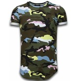 TONY BACKER Known Camouflage T-shirt - Long Fit Shirt Army - Pink