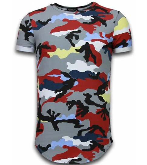 TONY BACKER Known Camouflage T-shirt - Long Fit Shirt Army - Bordeaux