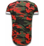 TONY BACKER Known Camouflage T-shirt - Long Fit Shirt Army - Rood