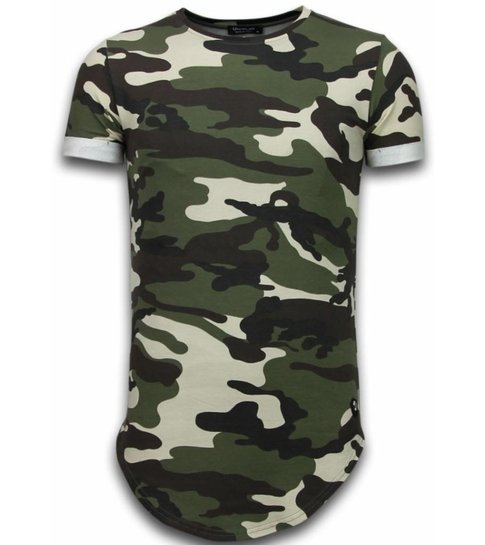 TONY BACKER Known Camouflage T-shirt - Long Fit Shirt Army - Groen