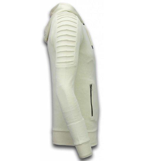 TONY BACKER Ribbed Vest - Long Fit Biker Trend - Creme