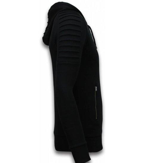 TONY BACKER Ribbed Vest - Long Fit Biker Trend - Zwart