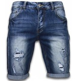Enos Korte Broeken Heren - Slim Fit Torn Look Shorts - Blauw