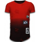 JUSTING Pictured Flare Effect T-shirt - Long Fit Shirt Dual Colored - Rood