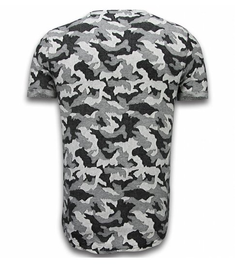 JUSTING Casual Camouflage Pattern - Aired Slim Fit T-shirt - Grijs