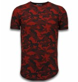 Berry Denim Casual Camouflage Pattern - Aired Slim Fit T-shirt - Rood