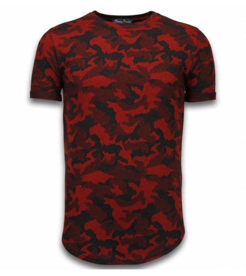 JUSTING Casual Camouflage Pattern - Aired Slim Fit T-shirt - Rood