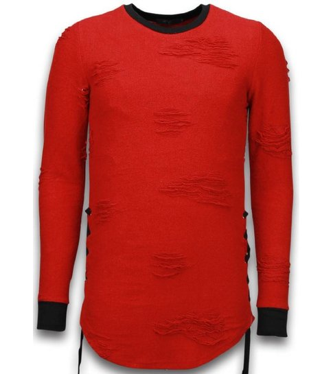 JUSTING Destroyed Look Trui - Side Laces Long Fit Sweater - Rood