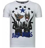 Local Fanatic Bad Boys Pinscher - Rhinestone T-shirt - Wit