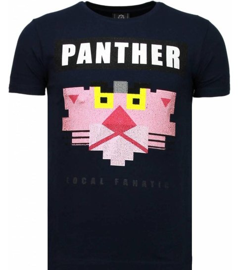 Local Fanatic Panther For A Cougar - Rhinestone T-shirt - Blauw