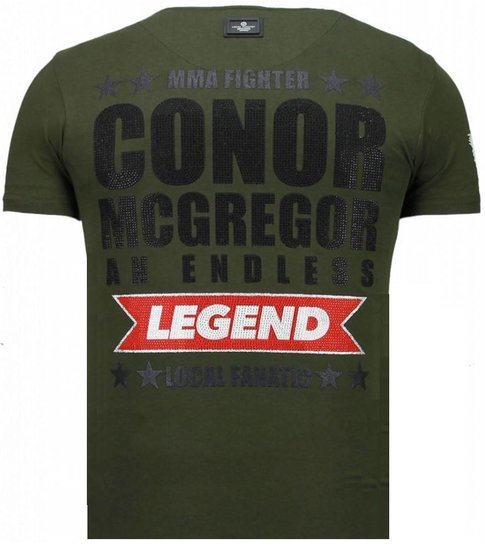 Local Fanatic Conor McGregor - Rhinestone T-shirt - Groen