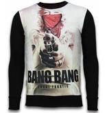 Local Fanatic Monroe Bang Bang - Digital Rhinestone Sweater - Zwart