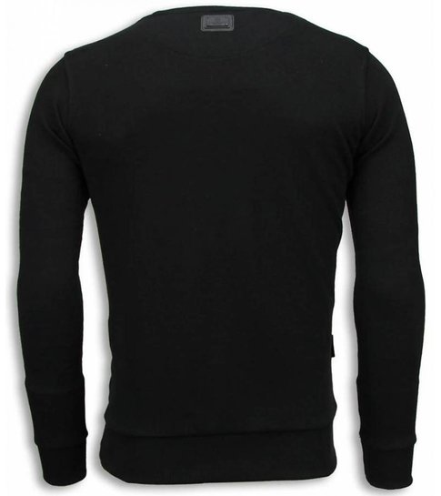 Local Fanatic Rocky Balboa Faith - Digital Rhinestone Sweater - Zwart