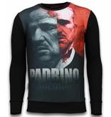 Local Fanatic El Padrino Two Faced - Digital Rhinestone Sweater - Zwart