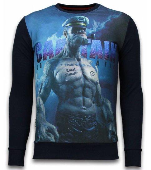 Local Fanatic The Sailor Man - Digital Rhinestone Sweater - Zwart