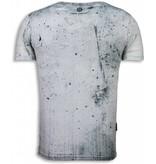 Local Fanatic Wanted Gothams Hero - Digital Rhinestone T-shirt - Grijs