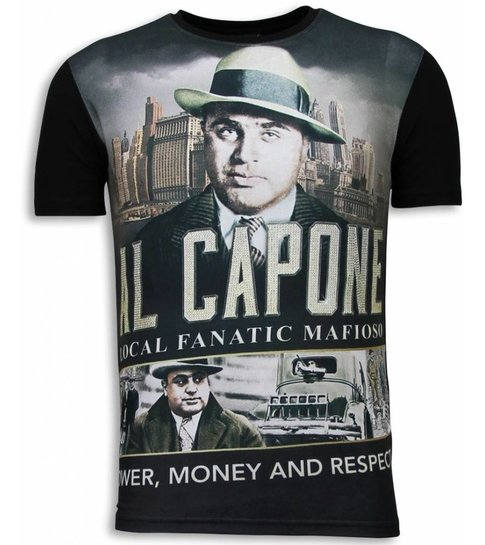 Local Fanatic Al Capone Mafioso - Digital Rhinestone T-shirt - Zwart