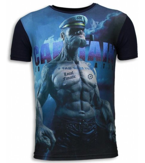 Local Fanatic Captain Sailor Man - Digital Rhinestone T-shirt - Navy