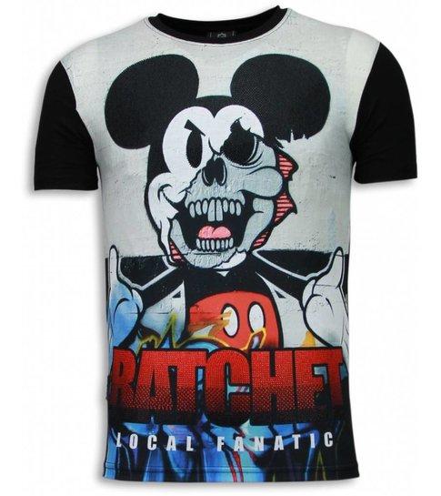 Local Fanatic Ratchet Mickey - Digital Rhinestone T-shirt - Zwart