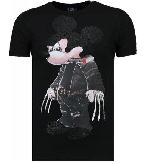 Local Fanatic Bad Mouse - Rhinestone T-shirt - Zwart