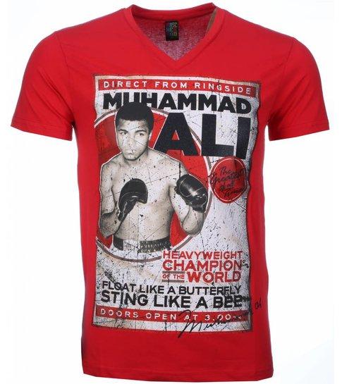 Local Fanatic T-shirt - Muhammad Ali Print - Rood