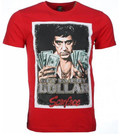 Mascherano T-shirt - Scarface Get Every Dollar Print - Rood