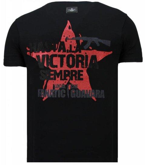 Local Fanatic Che Guevara Comandante - Rhinestone T-shirt - Zwart